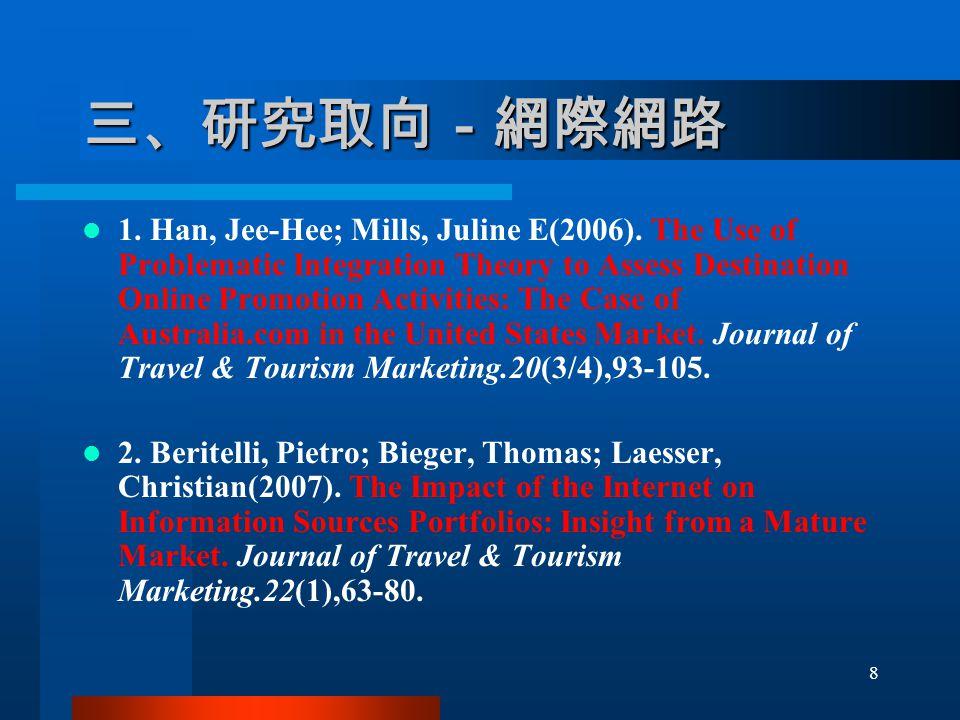 三、研究取向-網際網路 1. Han, Jee-Hee; Mills, Juline E(2006).