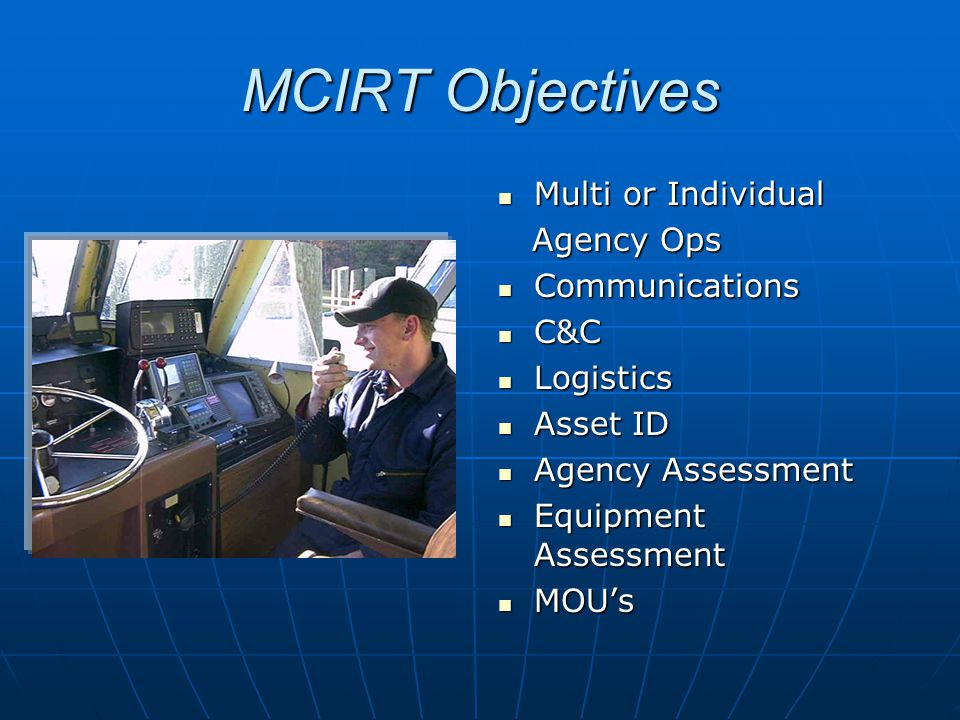 MCIRT Objectives Multi or Individual Multi or Individual Agency Ops Agency Ops Communications Communications C&C C&C Logistics Logistics Asset ID Asset ID Agency Assessment Agency Assessment Equipment Assessment Equipment Assessment MOU's MOU's
