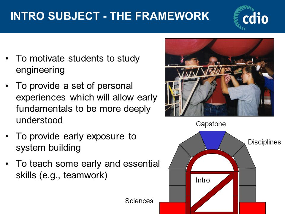 INTRO SUBJECT - THE FRAMEWORK To motivate students to study engineering To provide a set of personal experiences which will allow early fundamentals t