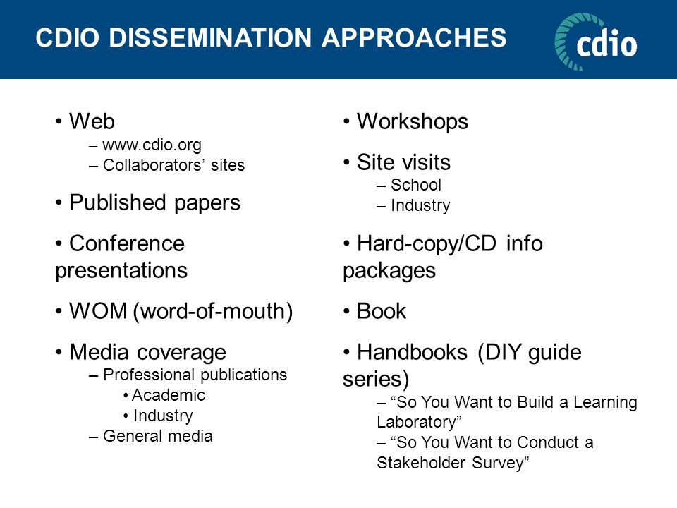 CDIO DISSEMINATION APPROACHES Web – www.cdio.org – Collaborators' sites Published papers Conference presentations WOM (word-of-mouth) Media coverage – Professional publications Academic Industry – General media Workshops Site visits – School – Industry Hard-copy/CD info packages Book Handbooks (DIY guide series) – So You Want to Build a Learning Laboratory – So You Want to Conduct a Stakeholder Survey