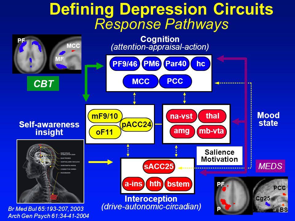 oF11 pACC24 mF9/10 PCC MCC PF9/46 Par40 PM6 sACC25 hth bstem a-ins amg mb-vta hc na-vst thal Salience Motivation Mood state Self-awareness insight Cog