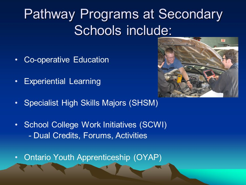 Pathway Programs at Secondary Schools include: Co-operative Education Experiential Learning Specialist High Skills Majors (SHSM) School College Work I