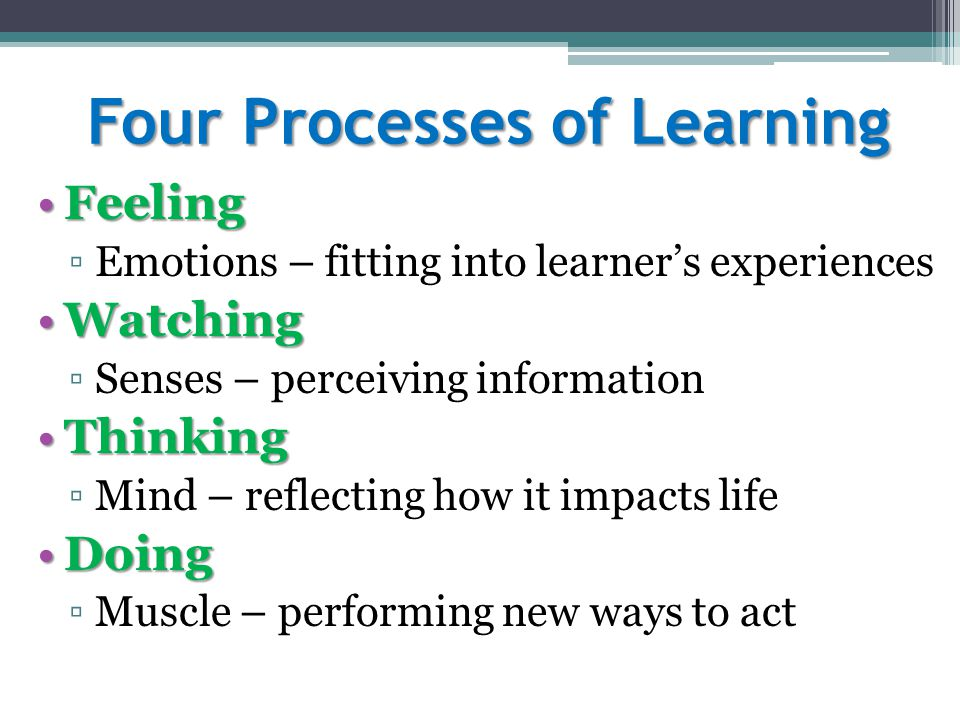 Four Processes of Learning FeelingFeeling ▫Emotions – fitting into learner's experiences WatchingWatching ▫Senses – perceiving information ThinkingThi