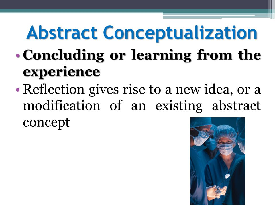Abstract Conceptualization Concluding or learning from the experienceConcluding or learning from the experience Reflection gives rise to a new idea, or a modification of an existing abstract concept
