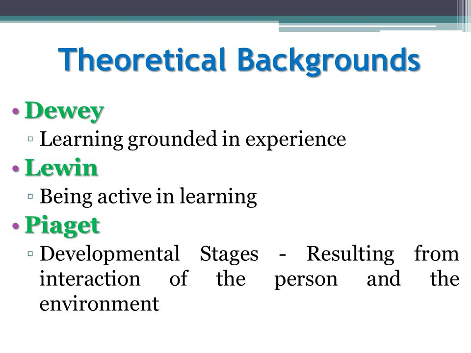 Theoretical Backgrounds DeweyDewey ▫Learning grounded in experience LewinLewin ▫Being active in learning PiagetPiaget ▫Developmental Stages - Resulting from interaction of the person and the environment