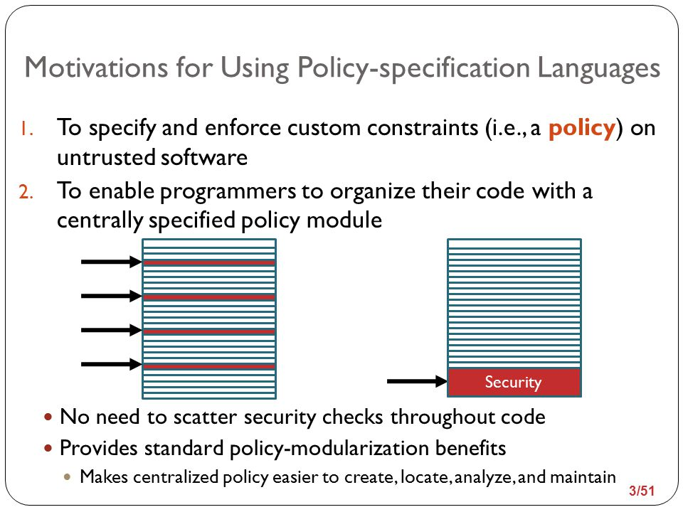 Related Work Many expressive policy-specification languages and systems have been implemented Implemented as compilers that convert untrusted into trusted applications Policy Untrusted Application Program Compiler Trusted Application Program The trusted application program is equivalent to the untrusted program except that it contains inlined code that enforces the policy at runtime 4/51