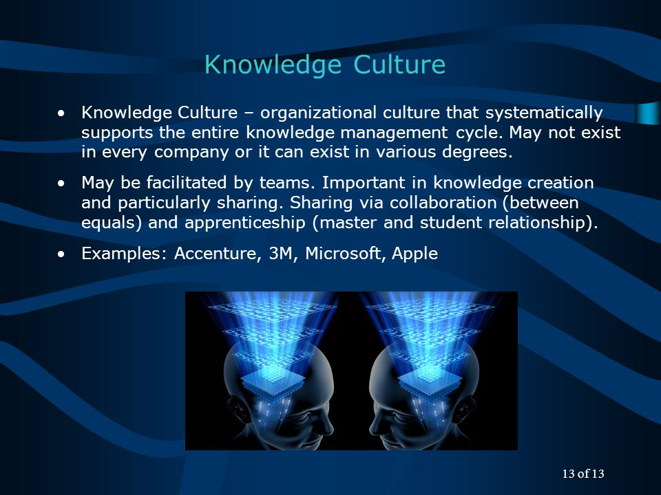 Knowledge Culture Knowledge Culture – organizational culture that systematically supports the entire knowledge management cycle.