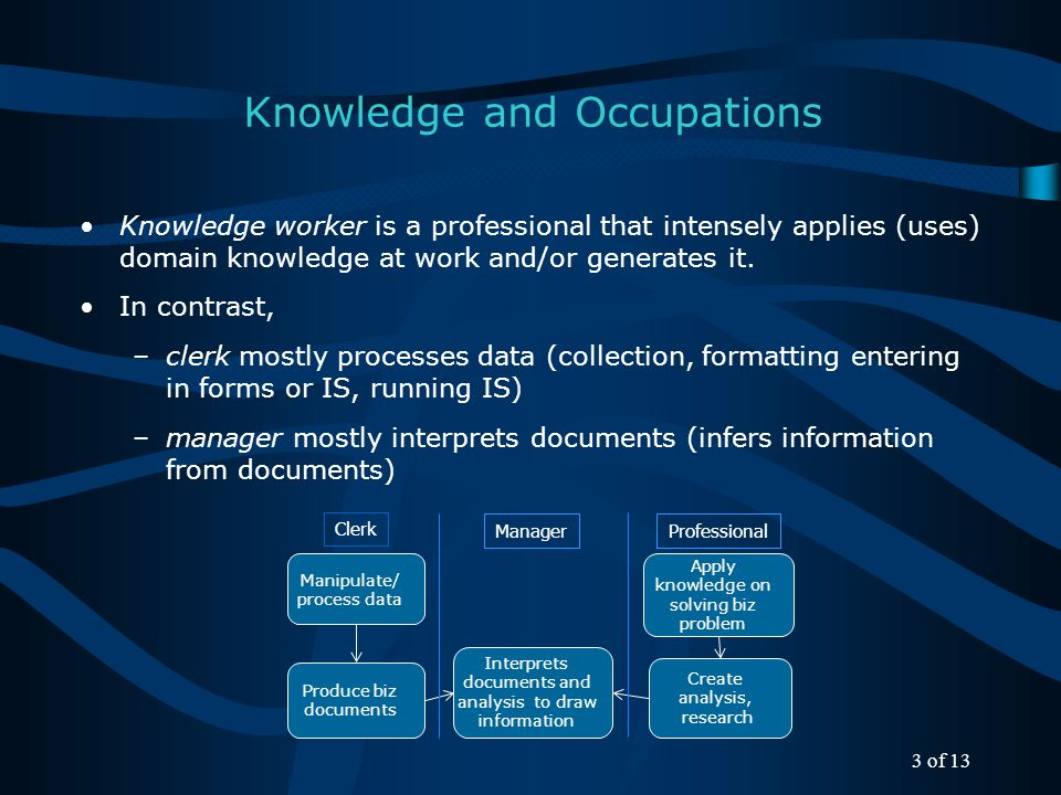 Knowledge refers to understanding what something is, why something is, and how to do something: - What: concepts, concepts' relationships, taxonomies - Know-how (procedures): How-to do something, analysis/synthesis, how to generate new knowledge - Why: understanding cause-effect relationships (special relationship) Knowledge Knowledge acquisition is incremental (what comes in layers, & why is learned with imperfect accuracy).