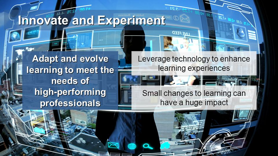 Innovate and Experiment Adapt and evolve learning to meet the needs of high-performing professionals Small changes to learning can have a huge impact Leverage technology to enhance learning experiences
