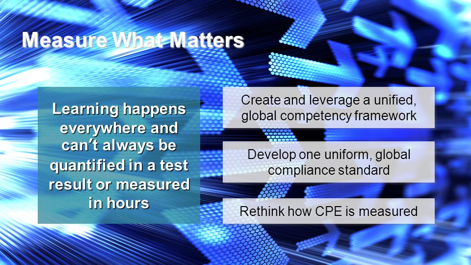 Measure What Matters Learning happens everywhere and can't always be quantified in a test result or measured in hours Create and leverage a unified, global competency framework Rethink how CPE is measured Develop one uniform, global compliance standard