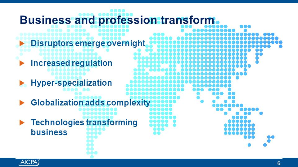 Business and profession transform Disruptors emerge overnight Increased regulation Hyper-specialization Globalization adds complexity Technologies transforming business 6