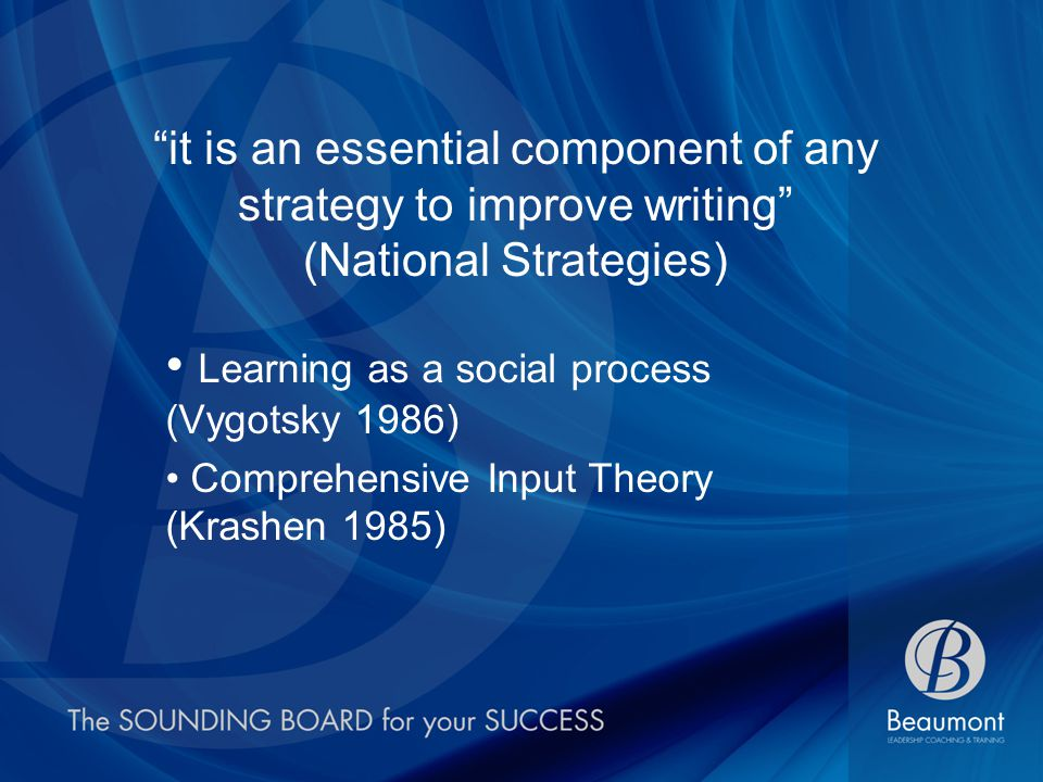 it is an essential component of any strategy to improve writing (National Strategies) Learning as a social process (Vygotsky 1986) Comprehensive Input Theory (Krashen 1985)