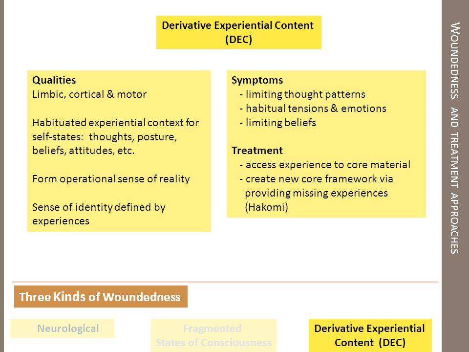 W OUNDEDNESS AND TREATMENT APPROACHES Qualities Limbic, cortical & motor Habituated experiential context for self-states: thoughts, posture, beliefs, attitudes, etc.
