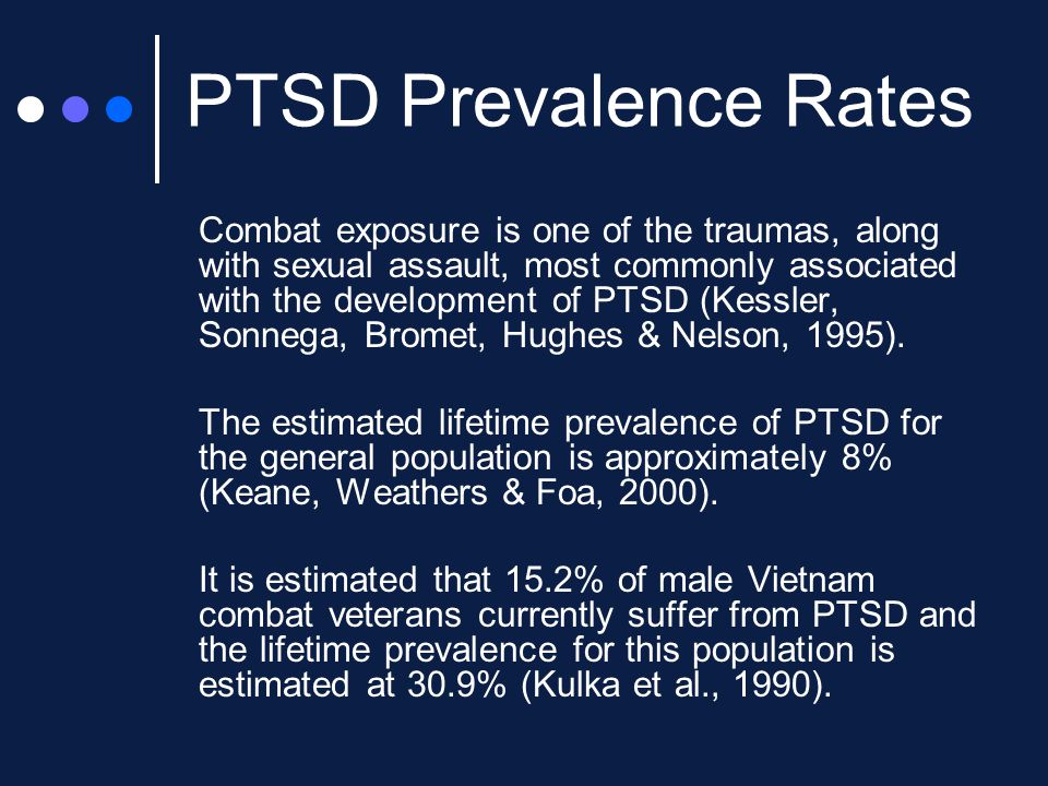 Evidence Based Practice Individual Trauma Processing Prolonged Exposure (Foa et al, 1991) EMDR (Shapiro, 1989) Cognitive Processing Therapy (Resick et al, 2007) Group Psychotherapy CPT (Resick et al, 2007) Seeking Safety (Najavits et al, 1998)