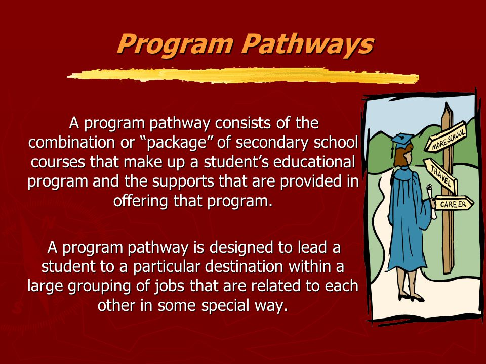 """Program Pathways A program pathway consists of the combination or """"package"""" of secondary school courses that make up a student's educational program a"""