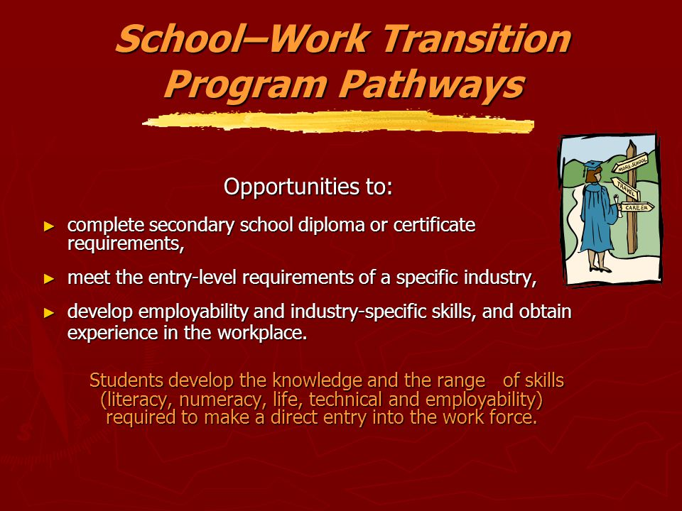 School–Work Transition Program Pathways Opportunities to: ► complete secondary school diploma or certificate requirements, ► meet the entry-level requ