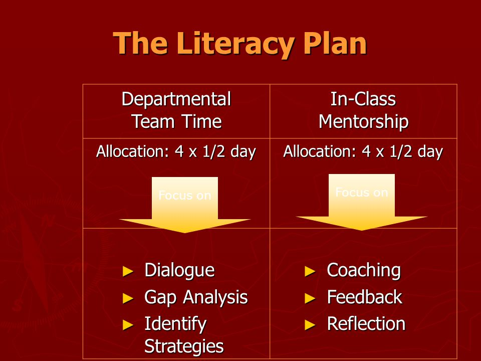 The Literacy Plan Departmental Team Time In-Class Mentorship Allocation: 4 x 1/2 day ► Dialogue ► Gap Analysis ► Identify Strategies ► Coaching ► Feed