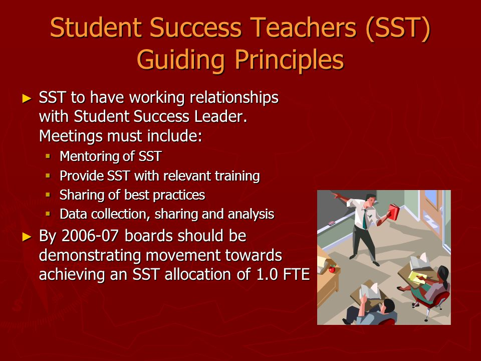 Student Success Teachers (SST) Guiding Principles ► SST to have working relationships with Student Success Leader. Meetings must include:  Mentoring