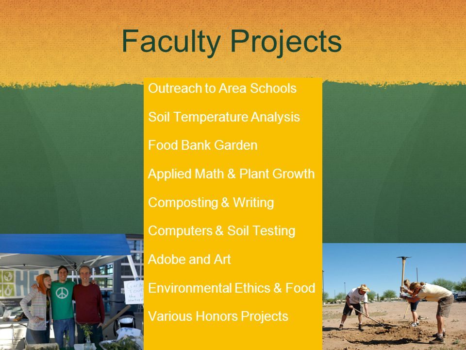 Faculty Projects Outreach to Area Schools Soil Temperature Analysis Food Bank Garden Applied Math & Plant Growth Composting & Writing Computers & Soil Testing Adobe and Art Environmental Ethics & Food Various Honors Projects