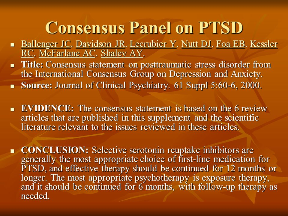 Consensus Panel on PTSD Ballenger JC. Davidson JR.