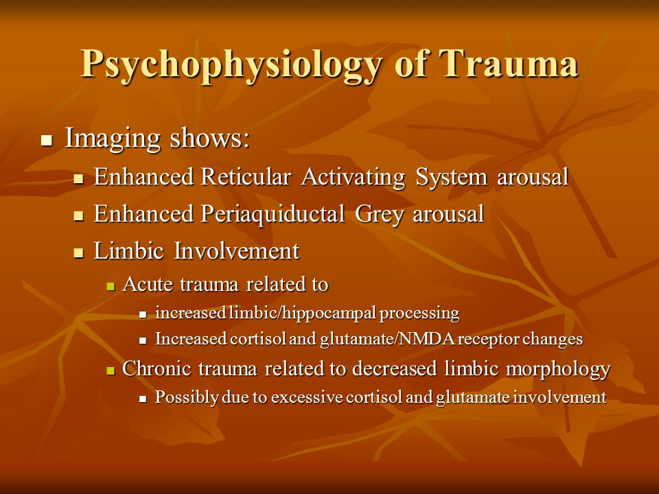 Adapting for Counseling Centers Provide a cognitive frame Provide a cognitive frame Psychoeducation for how trauma symptoms occur Psychoeducation for how trauma symptoms occur Normalize Normalize Explain the psychophysiology Explain the psychophysiology Explain the Sx Explain the Sx Cognitive Therapy for understanding Cognitive Therapy for understanding Habit stimuli, cog/emot/physiol/behavioral reactions Habit stimuli, cog/emot/physiol/behavioral reactions Optimal / healthy reactions Optimal / healthy reactions Skills needed to obtain these optimal reactions Skills needed to obtain these optimal reactions