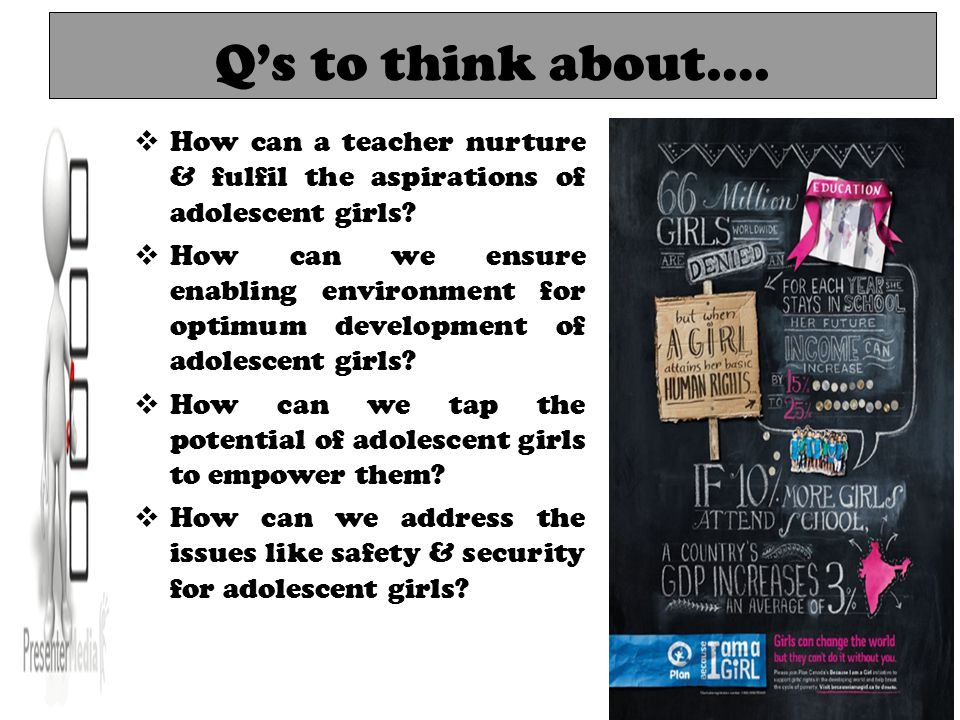 Q's to think about….  How can a teacher nurture & fulfil the aspirations of adolescent girls.