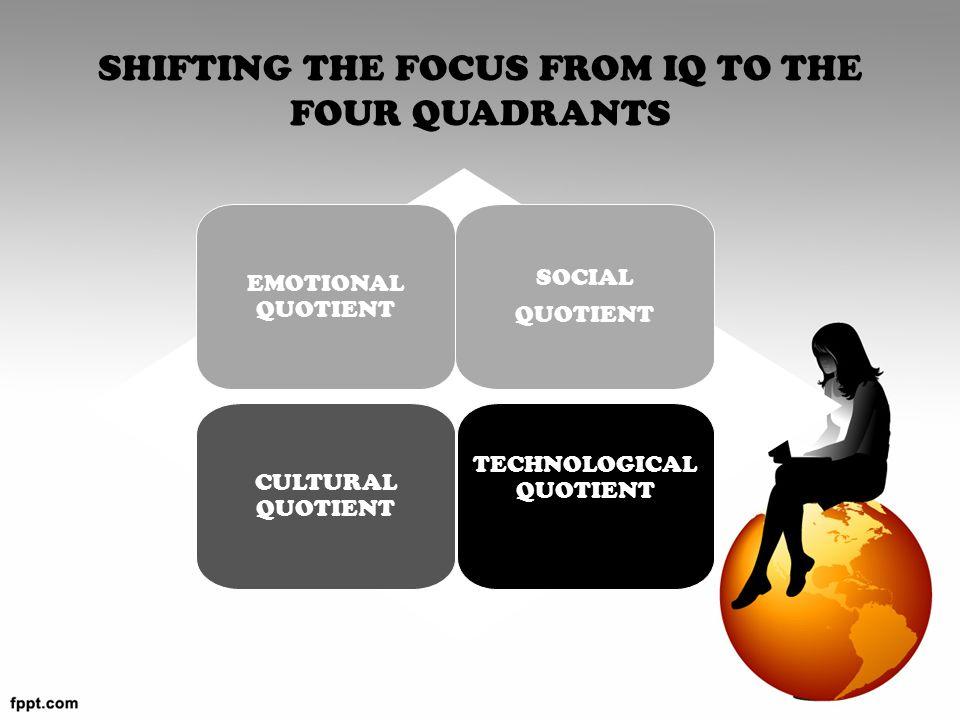 SHIFTING THE FOCUS FROM IQ TO THE FOUR QUADRANTS EMOTIONAL QUOTIENT SOCIAL QUOTIENT CULTURAL QUOTIENT TECHNOLOGICAL QUOTIENT