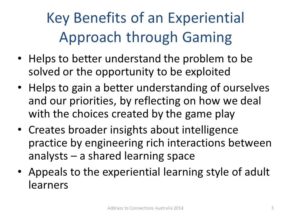 Design of Possibility Gaming A key challenge for intelligence analysis is to reduce the complexity for the design and execution of new methods: – A strategic landscape or 'possibility space' where action and response may be simulated.