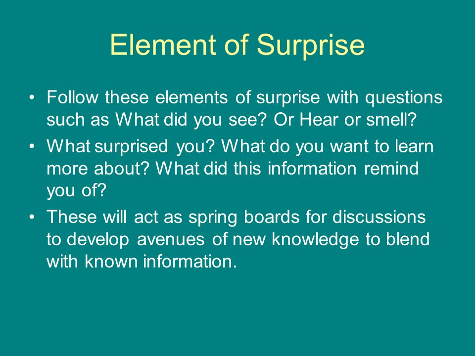 Element of Surprise Follow these elements of surprise with questions such as What did you see.