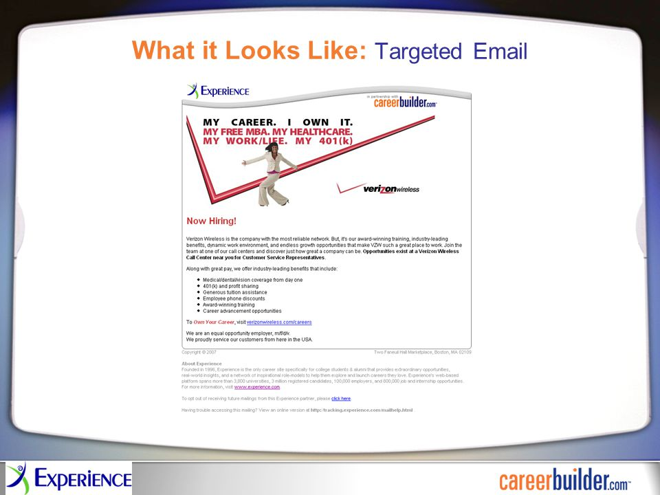 What it Looks Like: Targeted Email