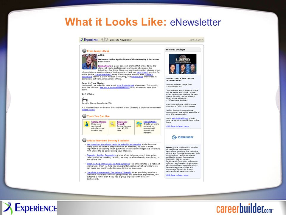 What it Looks Like: eNewsletter