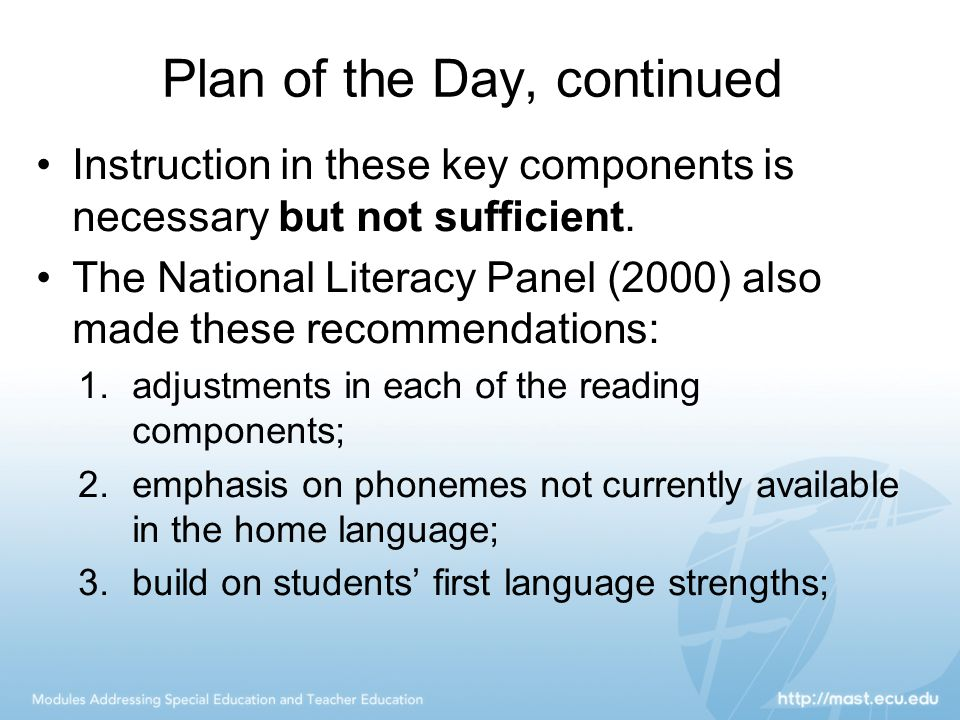 Plan of the Day, continued Instruction in these key components is necessary but not sufficient. The National Literacy Panel (2000) also made these rec