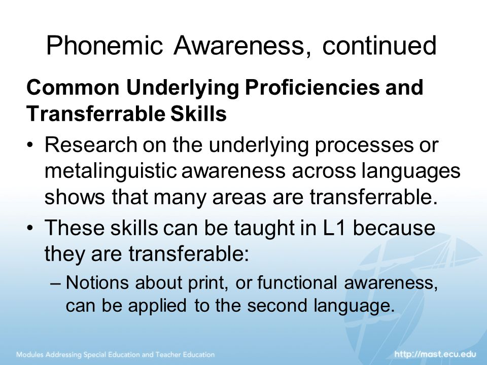 Phonemic Awareness, continued Common Underlying Proficiencies and Transferrable Skills Research on the underlying processes or metalinguistic awarenes