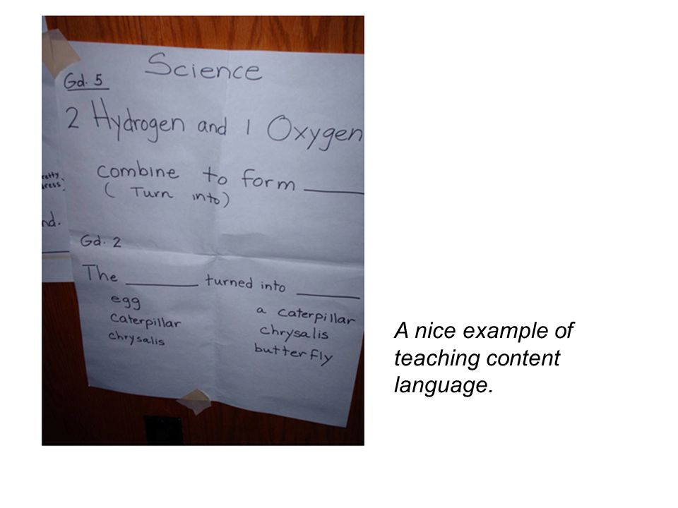A nice example of teaching content language.