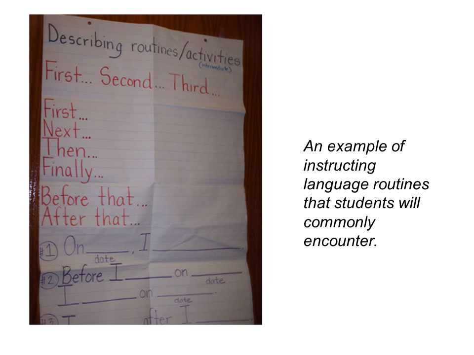 An example of instructing language routines that students will commonly encounter.