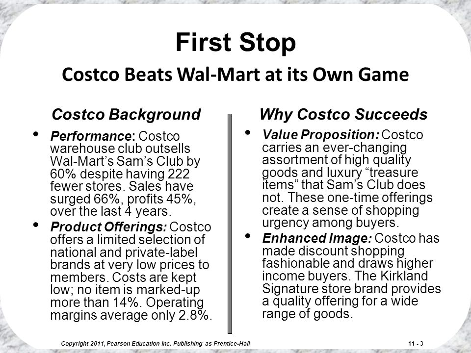 Copyright 2011, Pearson Education Inc. Publishing as Prentice-Hall 11 - 3 Costco Background Performance: Costco warehouse club outsells Wal-Mart's Sam