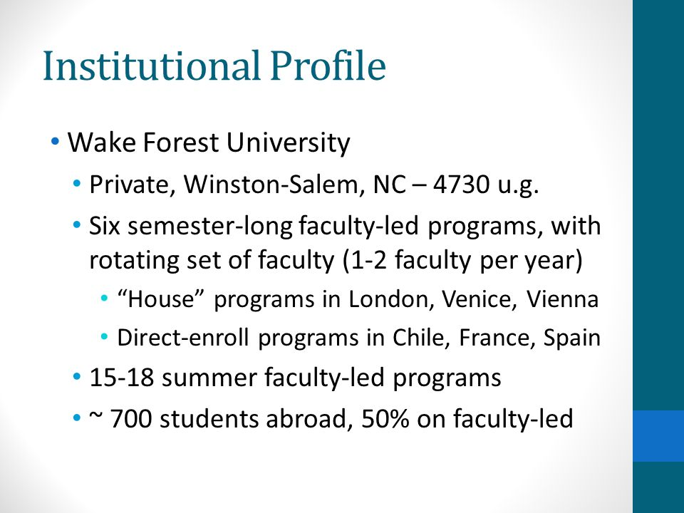 Institutional Profile Wake Forest University Private, Winston-Salem, NC – 4730 u.g. Six semester-long faculty-led programs, with rotating set of facul