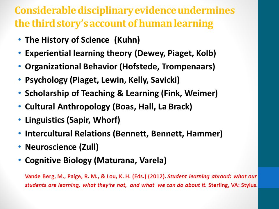 Considerable disciplinary evidence undermines the third story's account of human learning The History of Science (Kuhn) Experiential learning theory (