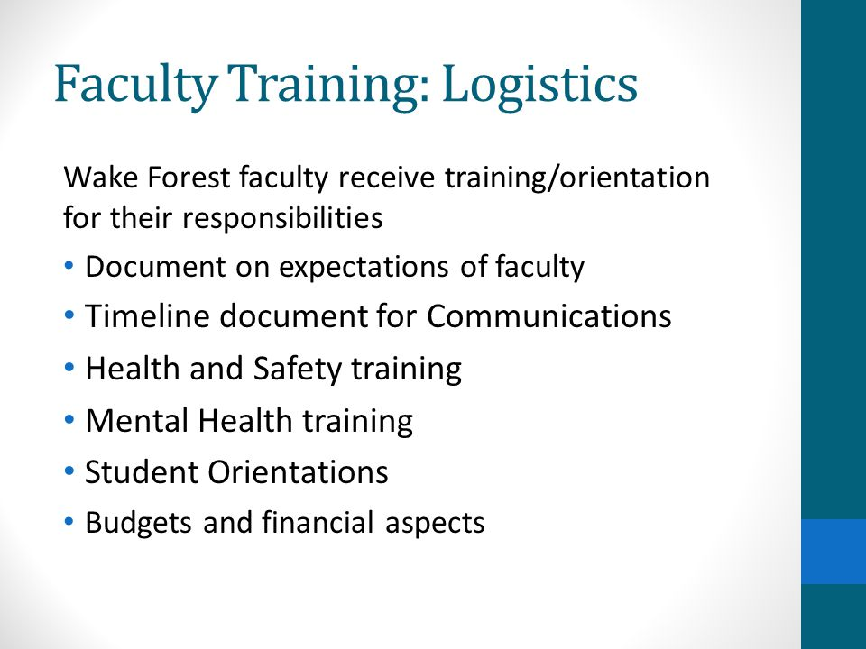 Faculty Training: Logistics Wake Forest faculty receive training/orientation for their responsibilities Document on expectations of faculty Timeline d