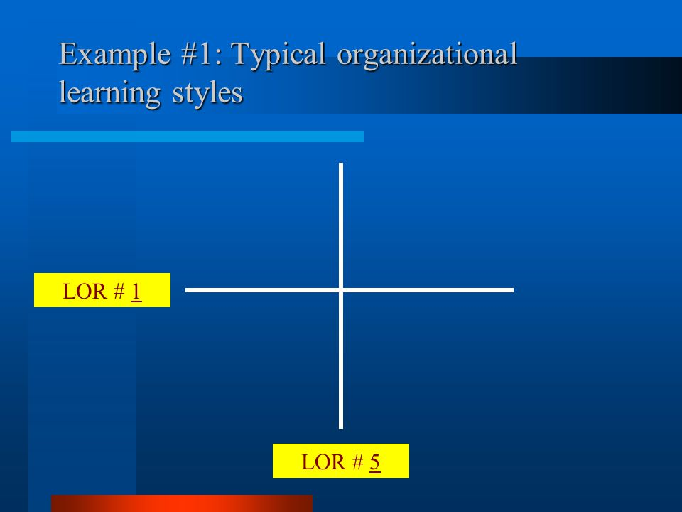 LOR # 5 LOR # 1 Example #1: Typical organizational learning styles