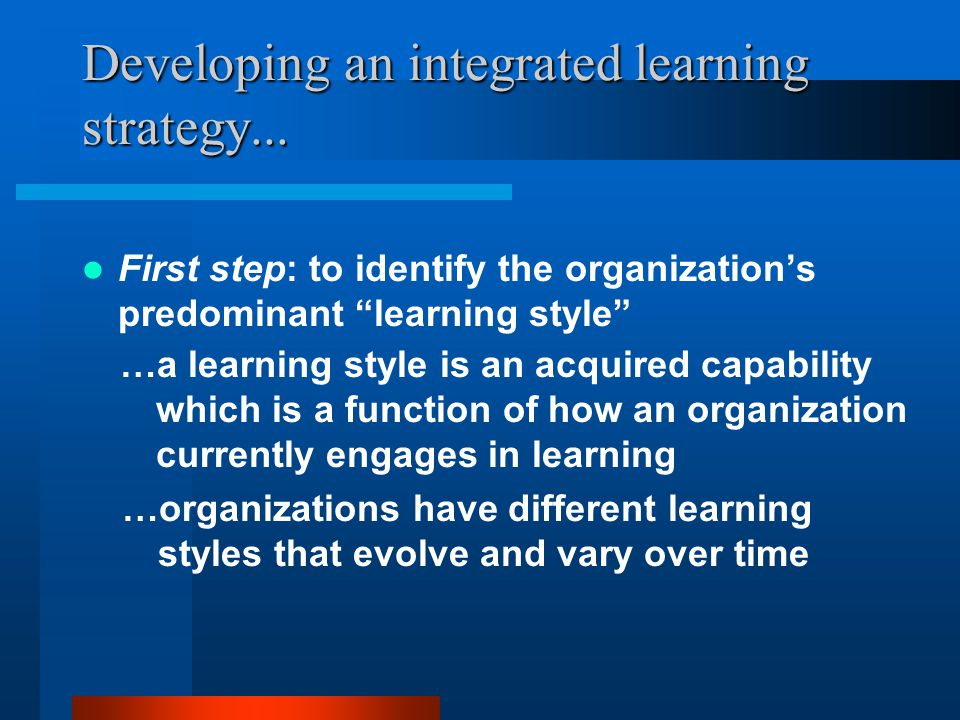…organizations can be successful in using one or a set of learning styles …the correct learning style depends upon appropriate management/leadership, organizational strategy, market conditions, and performance demand