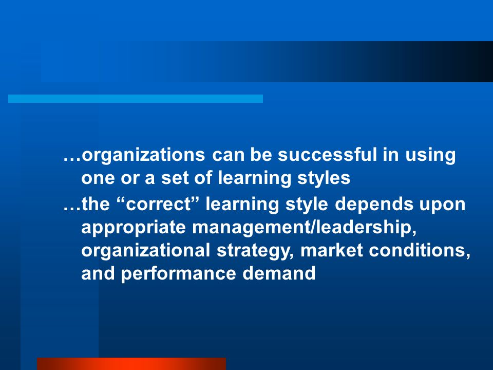 Identifying an organization's predominant learning style...