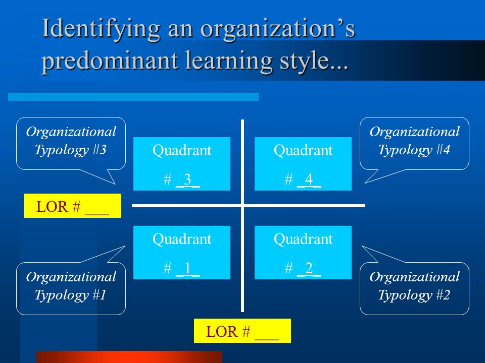 A thought experiment… Using LORs to identify predominant learning styles of organizations