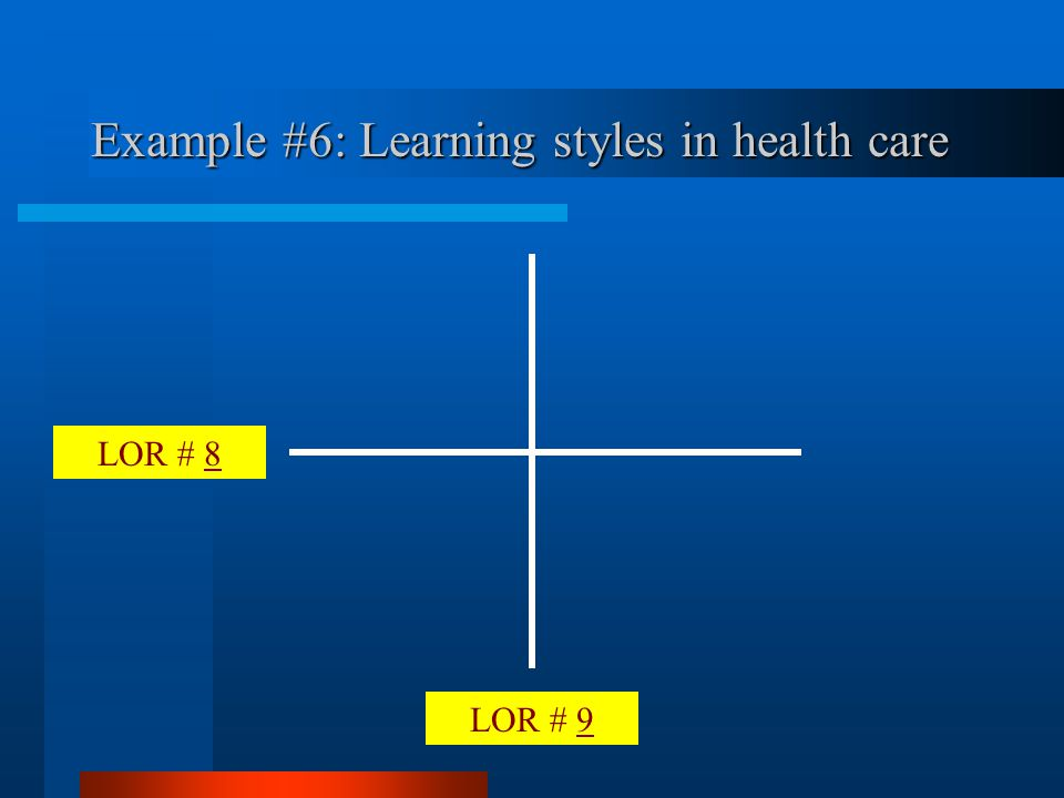 LOR # 9 LOR # 8 Example #6: Learning styles in health care