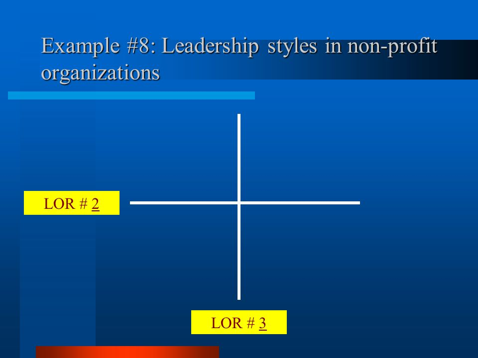 LOR # 3 LOR # 2 Example #8: Leadership styles in non-profit organizations