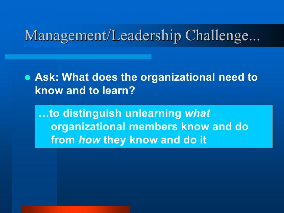 Management/Leadership Challenge... Ask: What does the organizational need to know and to learn.