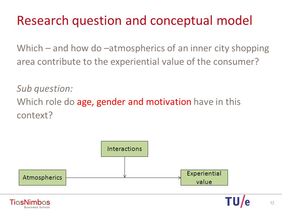 14 Atmospherics Experiential value Interactions Motivation:Utilitarian Hedonic Demographics:Age ( g eneration Y, g eneration X, baby boomers and b uilder generation) Gender Income Education Research question and conceptual model
