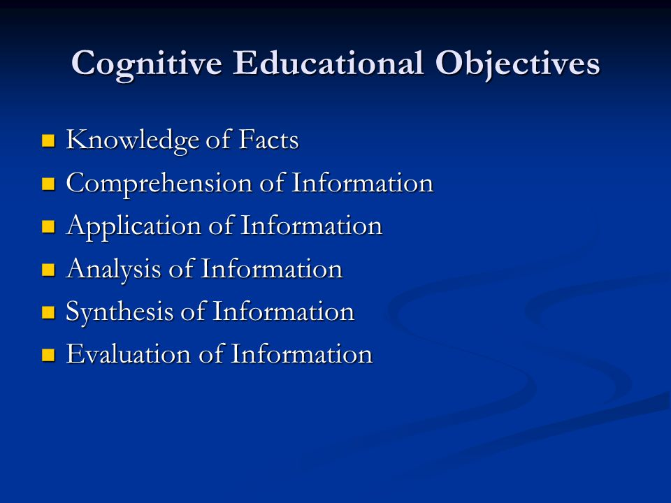 Cognitive Educational Objectives Knowledge of Facts Knowledge of Facts Comprehension of Information Comprehension of Information Application of Information Application of Information Analysis of Information Analysis of Information Synthesis of Information Synthesis of Information Evaluation of Information Evaluation of Information