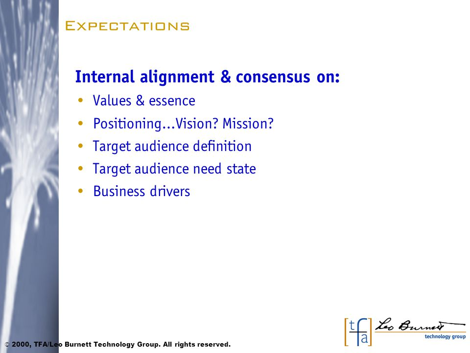 Expectations Internal alignment & consensus on: Values & essence Positioning…Vision.