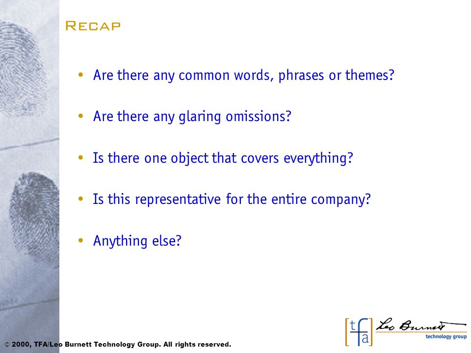 Recap Are there any common words, phrases or themes.